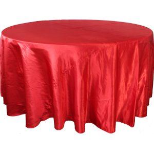 Mantel redondo satín rojo