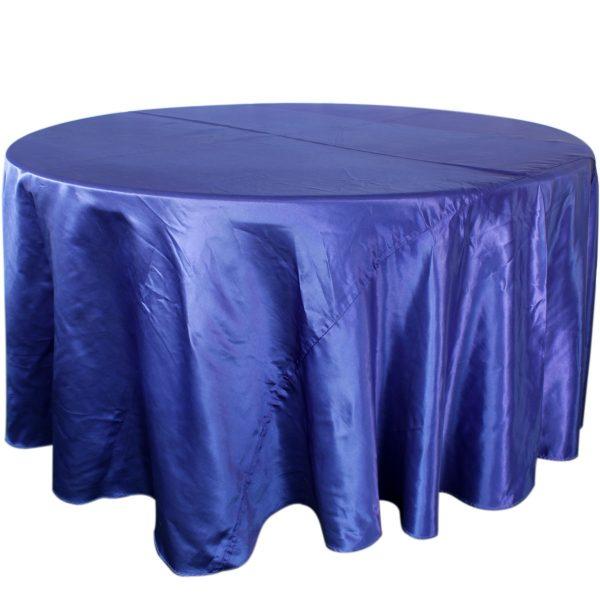 Mantel redondo satín azul rey