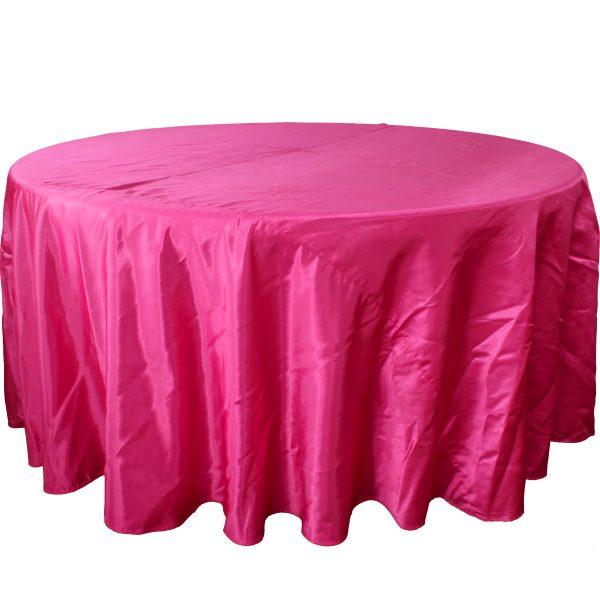 Mantel redondo satín rosa fucsia
