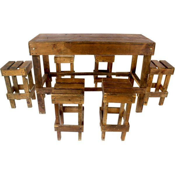 mesa periquera rústica con 6 bancos