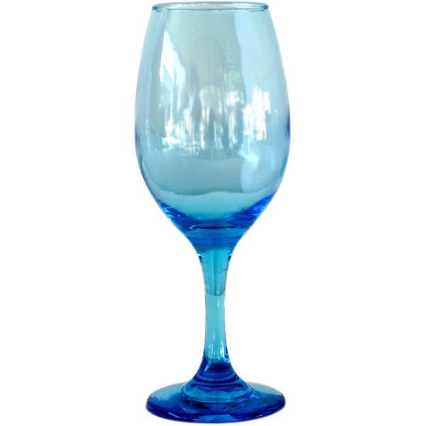 Copa de vino azul aqua